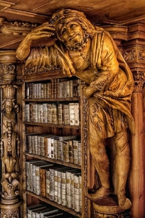 A bookshelf in the abbey of waldsassen in BavariaGermany This library was built in the rococo architectural style between -