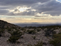 A break in the clouds in the Caballo Mountains outside Truth or Consequences New Mexico USA