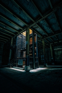 A broken elevator in an abandoned naval fuel depot