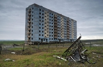 A building in the ghost town of Alykel located above the Arctic Circle in Russia