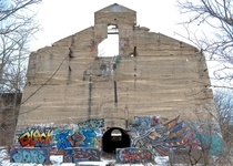 A Building That was Once Part of a Limestone Quarry in Bellevue Michigan USA