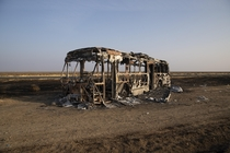 A burnt out bus in the middle of Australia