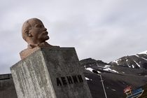 A bust of Vladimir Lenin stands in the abandoned Russian mining settlement of Pyramiden in Svalbard a Norwegian archipelago in the Arctic Ocean Dominique Faget