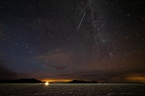 A busy night sky above the Bonneville Salt Flats UT