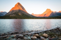 A calm peaceful morning at Swiftcurrent Lake in Montana