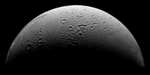 A Cassini mosaic the highest resolution yet of degraded craters fractures and disrupted terrain of Enceladuss north polar region Enceladus is Saturns th largest moon and is mostly covered by fresh clean ice making it one of the most reflective bodies in t