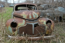 A  Chevrolet Special Deluxe rusting in Southern Ontario
