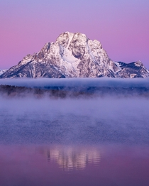 A chilly purple sunrise on Lake Jackson last October - Grand Teton NP -  - IG travlonghorns