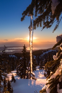 A chilly sunset on Seymour mountain in Vancouver BC