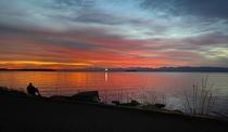 A Christmas Day Sunset over Lake Champlain and the Adirondack Mountains in NY Burlington Vermont