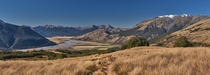 A classic Canterbury viewpoint - Tussock grass meandering river and mountains Taken from the Bealey Spur Track New Zealand
