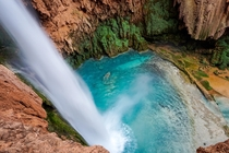 A classic Havasupai waterfall from a heart pounding location  x