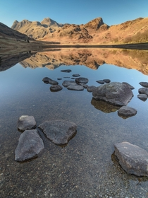 A clear spring afternoon with the Langdale Pikes reflected in Blea Tarn