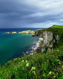 A cliffside overlooking the Atlantic in Ballintoy Northern Ireland