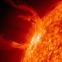 A close pic of a solar flare