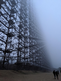 A close up of the Duga Radar abandoned antenna near Chernobyl Ukraine