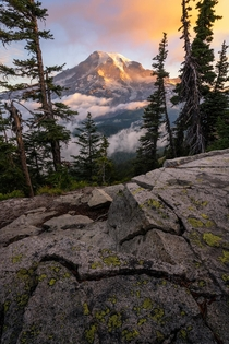 A cloudy and colorful morning at Mount Rainier OC  jakebylsma
