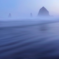A cold and foggy sunrise at Cannon Beach This is a  second long exposure of the fog and water moving across the beach InstagramJayKlassy