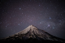 A cold winter night on Mt Taranaki in Egmont National Park NZ