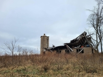 A collapsed barn in central Wisconsin