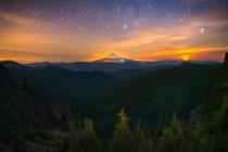 A collection of meteors from the Perseid Meteor Shower over the Mt Hood Wilderness