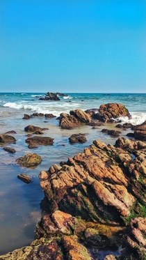 A colourful rocky beach side in Visakhapatnam India