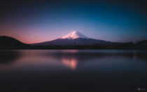 A colourful sunrise at Mt Fuji