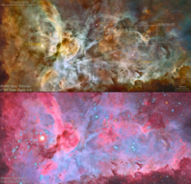 A comparison between a Hubble  CTIOs image of the Carina Nebula and my own Crazy how advanced amateur equipment has become
