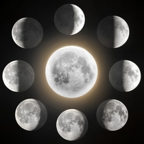 A composite image showing some of the different phases of the moon imaged over the course of this year