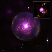 A composite of the planetary nebula Abell  located  about  light years away