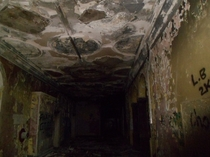 A corridor in an old abandoned mansion in the town where I live Tunstall Court Hartlepool England