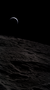 A crescent Earth seen from Lunar orbit by Apollo  Astronaut Al Worden
