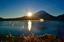 A crisp sunrise on Mt Fuji from Lake Motosu Japan