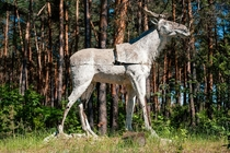 A crumbling concrete elk in an abandoned Soviet Young Pioneers Camp - similar to Scouts