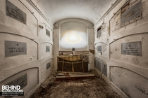 A crypt below a chapel in an abandoned Italian villa where the family elders were laid to rest