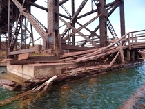 A decaying dock on Lake Superior in Two Harbors MN