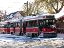 A decommissioned snowed in ALRV tram in Toronto ON
