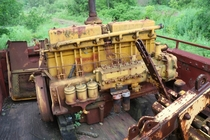 A diesel engine on an abandoned rail car in Duluth MN