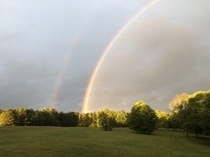 A double rainbow touching down on my parents farm GA