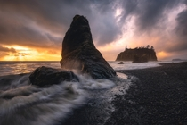 A dramatic sunset at Ruby Beach Washington State  IG Seanhphotography