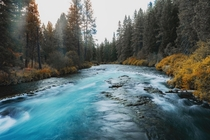 A fall look at a fast River outside of Sisters OR in the PNW