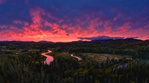 A fiery sunset along the Ausable in the Adirondacks - New York
