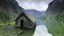 A flooded shack in between two gorges Germany x