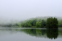 A foggy lake in Blowing Rock NC