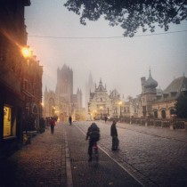 A foggy morning in Ghent Belgium