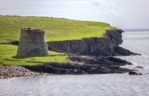 A fortress at the edge of the world - the Broch of Mousa a ft high Iron Age stone keep on the island of Mousa Shetland Scotland