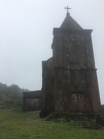 A French colonial church in the mist on Bokor Mountain Cambodia