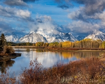 A fresh cover of snow on a partly cloudy morning last October - Grand Teton National Park -  - IG travlonghorns