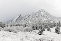 A fresh snow brilliantly coats Boulder Colorados natural pride and joy The Flatirons