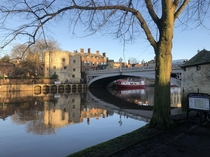 A frosty December morning on the banks of the River Ouse York England